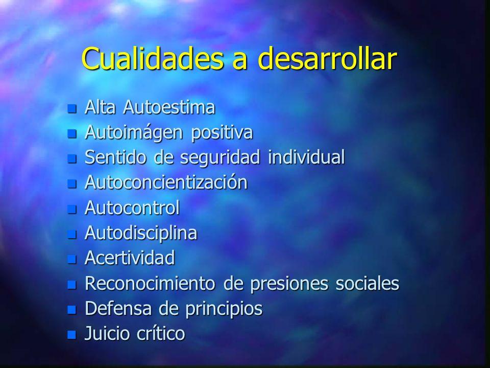 Cualidades a desarrollar n Alta Autoestima n Autoimágen positiva n Sentido de seguridad individual n Autoconcientización n Autocontrol n Autodisciplin