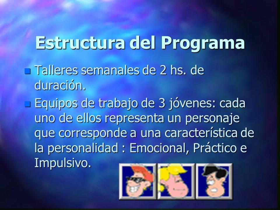 Estructura del Programa n Talleres semanales de 2 hs. de duración. n Equipos de trabajo de 3 jóvenes: cada uno de ellos representa un personaje que co