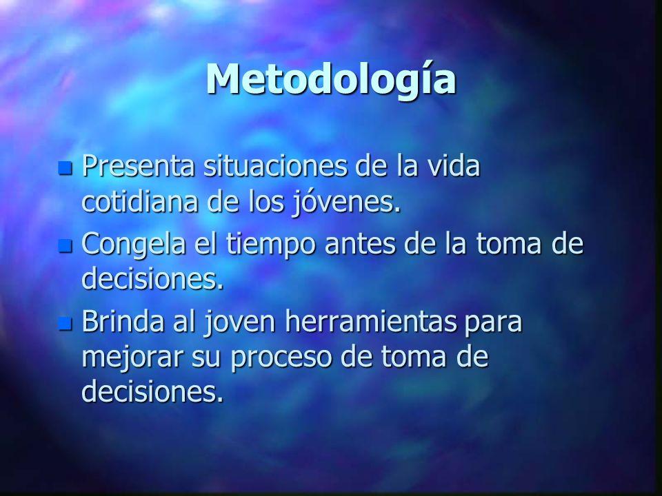 Metodología n Presenta situaciones de la vida cotidiana de los jóvenes. n Congela el tiempo antes de la toma de decisiones. n Brinda al joven herramie