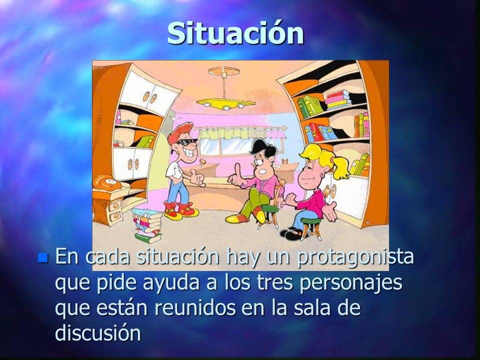 Situación n En cada situación hay un protagonista que pide ayuda a los tres personajes que están reunidos en la sala de discusión