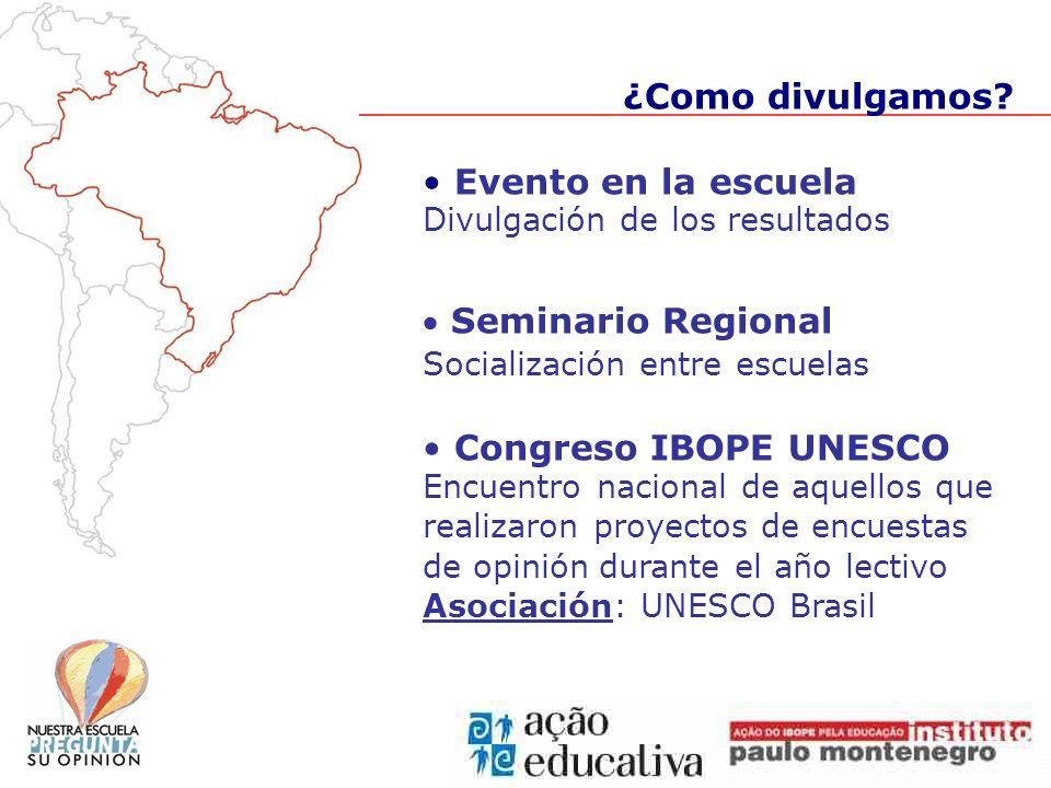 Evento en la escuela Divulgación de los resultados Seminario Regional Socialización entre escuelas Congreso IBOPE UNESCO Encuentro nacional de aquello