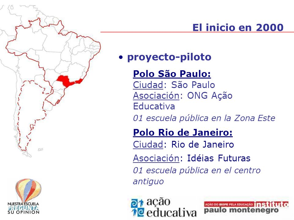 proyecto-piloto Polo São Paulo: Ciudad: São Paulo Asociación: ONG Ação Educativa 01 escuela pública en la Zona Este Polo Rio de Janeiro: Ciudad: Rio de Janeiro Asociación: Idéias Futuras 01 escuela pública en el centro antiguo El inicio en 2000