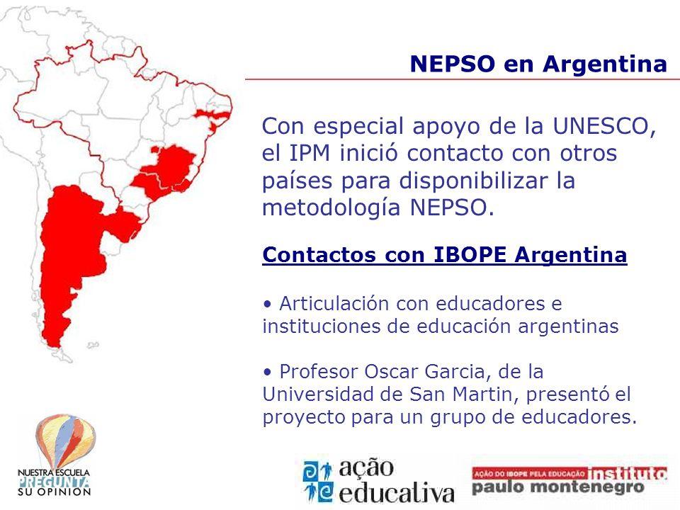 NEPSO en Argentina Con especial apoyo de la UNESCO, el IPM inició contacto con otros países para disponibilizar la metodología NEPSO. Contactos con IB