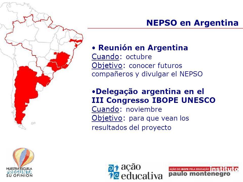 NEPSO en Argentina Reunión en Argentina Cuando: octubre Objetivo: conocer futuros compañeros y divulgar el NEPSO Delegação argentina en el III Congres