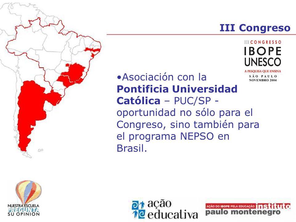 III Congreso Asociación con la Pontificia Universidad Católica – PUC/SP - oportunidad no sólo para el Congreso, sino también para el programa NEPSO en