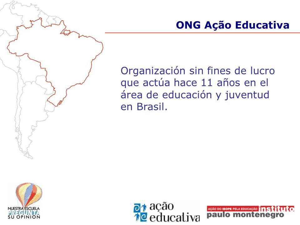 Organización sin fines de lucro que actúa hace 11 años en el área de educación y juventud en Brasil. ONG Ação Educativa