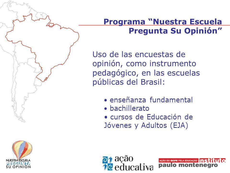 Uso de las encuestas de opinión, como instrumento pedagógico, en las escuelas públicas del Brasil: enseñanza fundamental bachillerato cursos de Educac