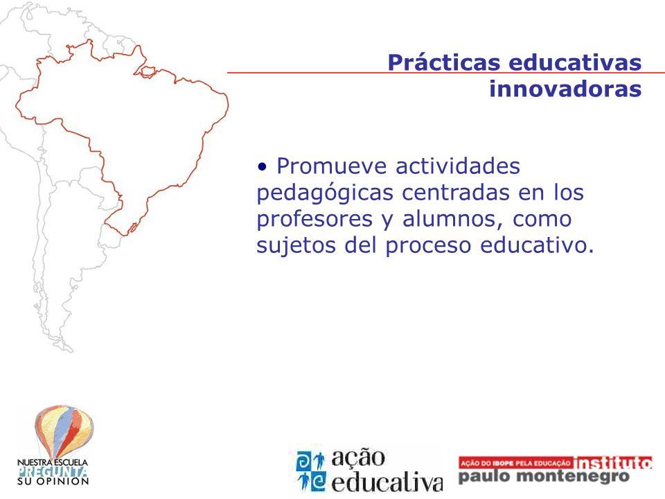 Prácticas educativas innovadoras Promueve actividades pedagógicas centradas en los profesores y alumnos, como sujetos del proceso educativo.
