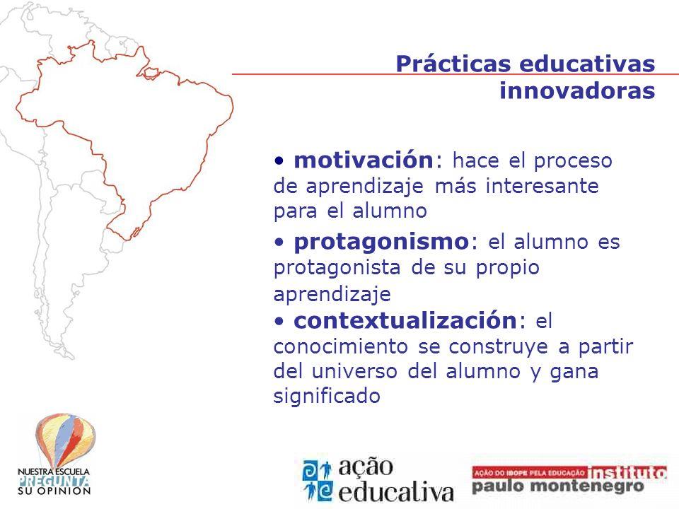 motivación: hace el proceso de aprendizaje más interesante para el alumno protagonismo: el alumno es protagonista de su propio aprendizaje contextualización: el conocimiento se construye a partir del universo del alumno y gana significado Prácticas educativas innovadoras