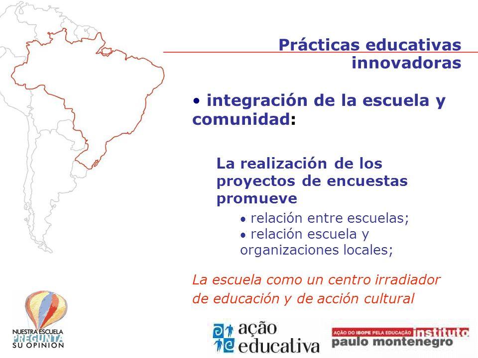 integración de la escuela y comunidad: La realización de los proyectos de encuestas promueve relación entre escuelas; relación escuela y organizaciones locales; La escuela como un centro irradiador de educación y de acción cultural Prácticas educativas innovadoras