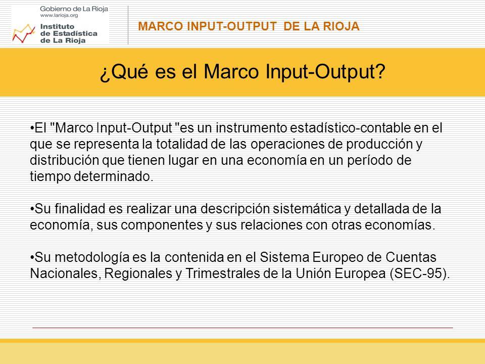MARCO INPUT-OUTPUT DE LA RIOJA El Marco Input-Output es un instrumento estadístico-contable en el que se representa la totalidad de las operaciones de producción y distribución que tienen lugar en una economía en un período de tiempo determinado.