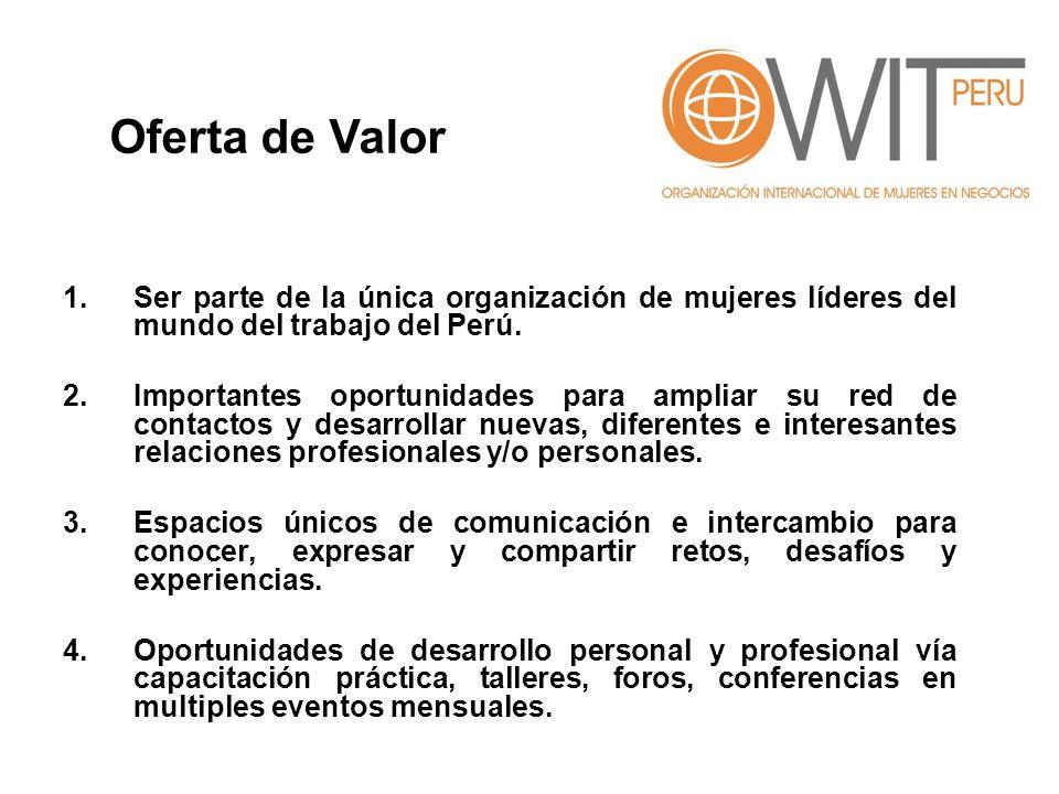 1.Ser parte de la única organización de mujeres líderes del mundo del trabajo del Perú.