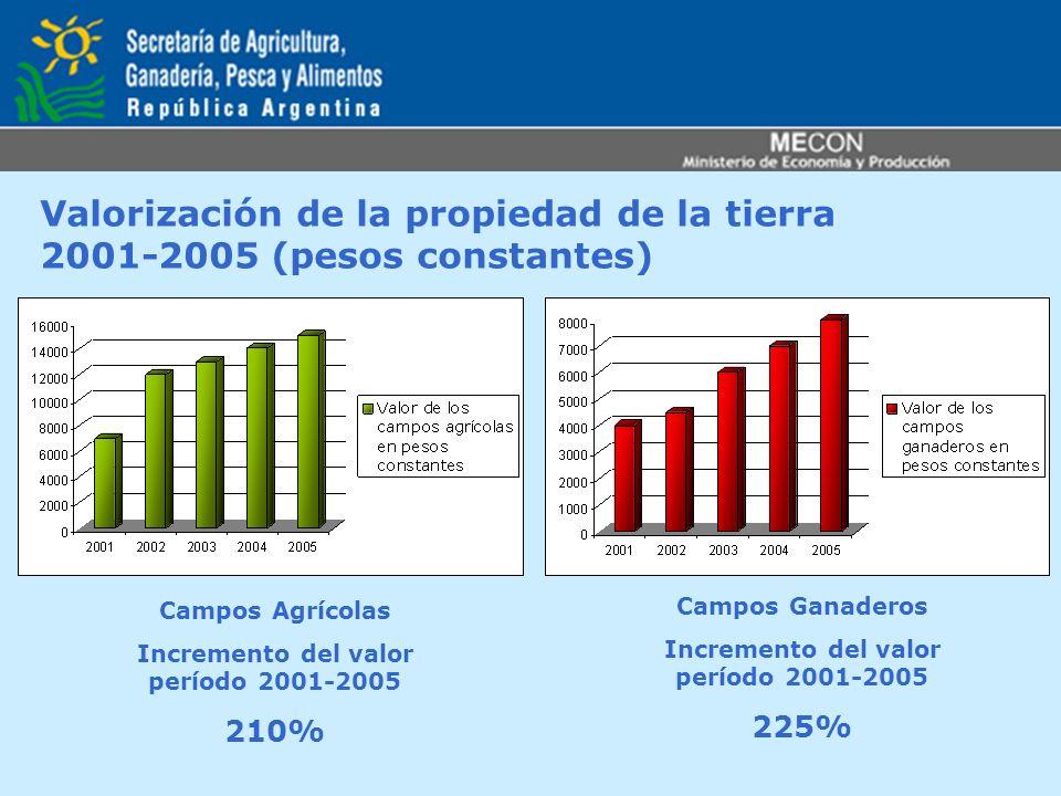 Valorización de la propiedad de la tierra 2001-2005 (pesos constantes) Campos Agrícolas Incremento del valor período 2001-2005 210% Campos Ganaderos I