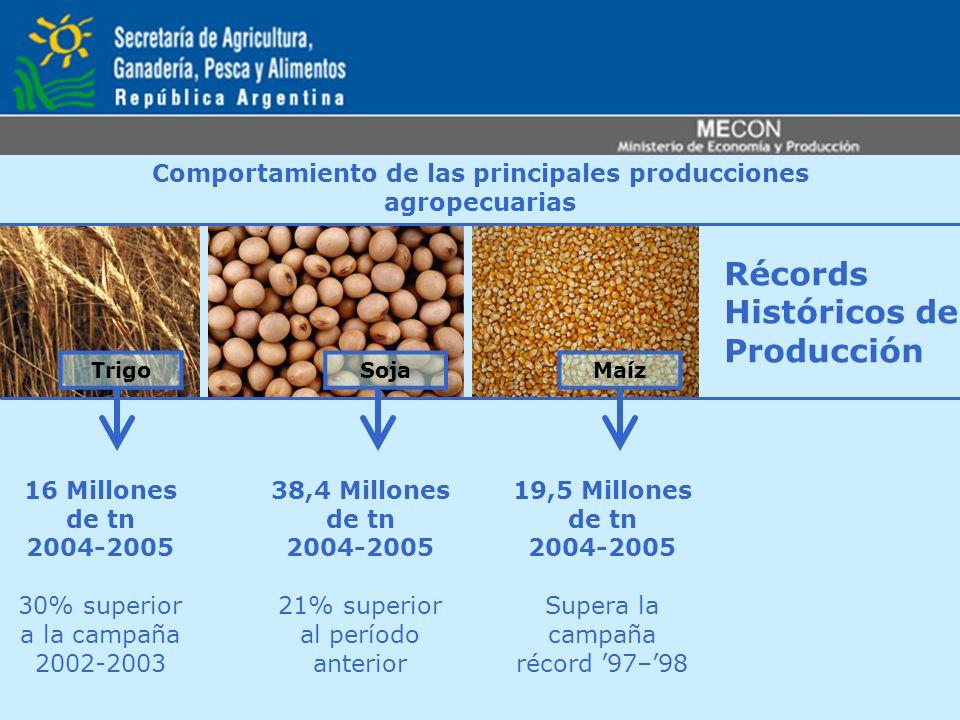 Récords Históricos de Producción TrigoSojaMaíz Comportamiento de las principales producciones agropecuarias 16 Millones de tn 2004-2005 30% superior a