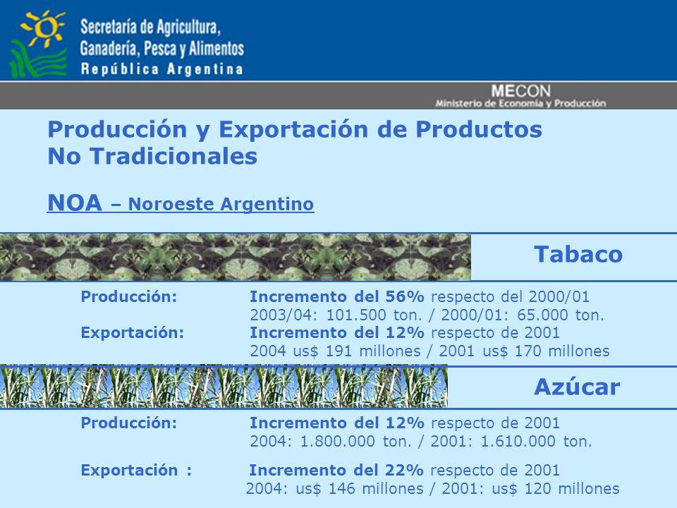 Producción y Exportación de Productos No Tradicionales NOA – Noroeste Argentino Producción: Incremento del 56% respecto del 2000/01 2003/04: 101.500 t