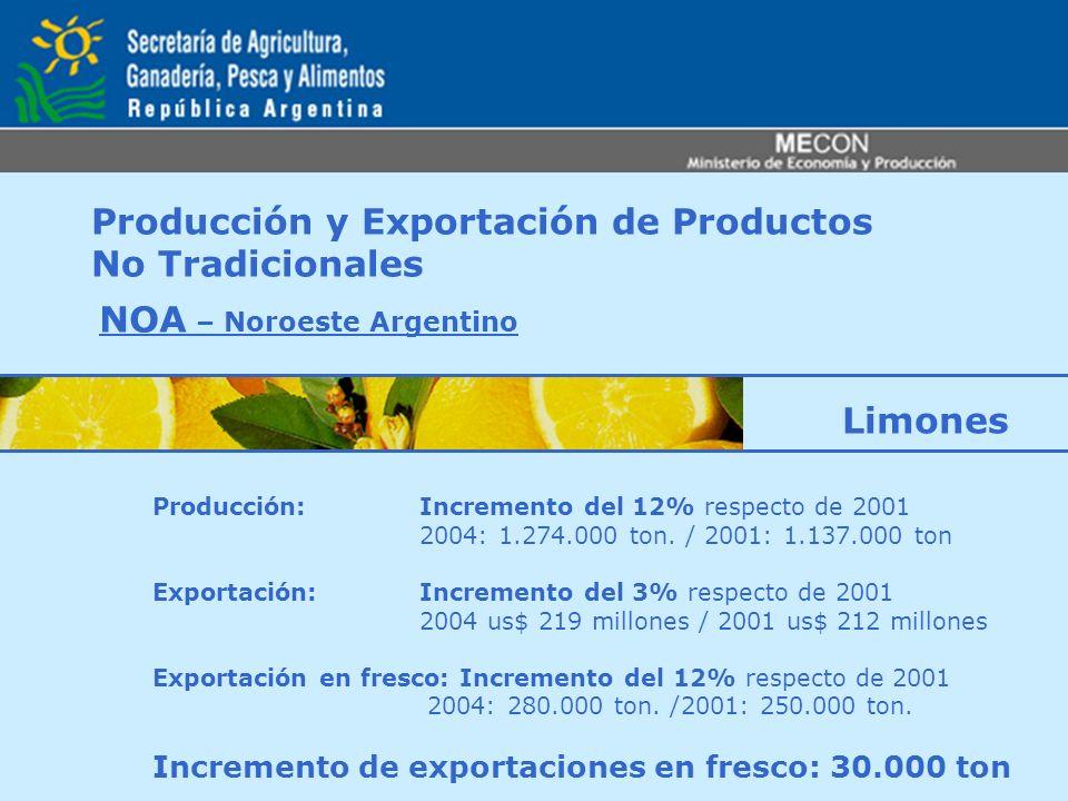 Producción y Exportación de Productos No Tradicionales NOA – Noroeste Argentino Producción: Incremento del 12% respecto de 2001 2004: 1.274.000 ton. /