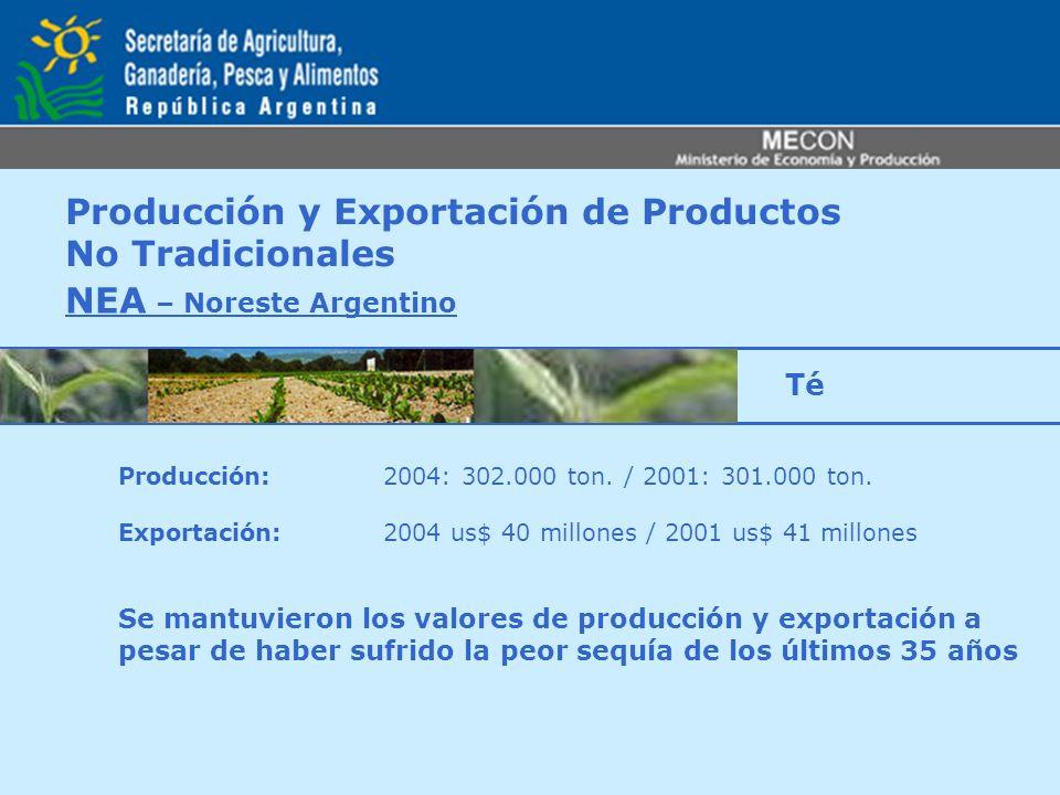 Producción y Exportación de Productos No Tradicionales NEA – Noreste Argentino Producción: 2004: 302.000 ton. / 2001: 301.000 ton. Exportación: 2004 u