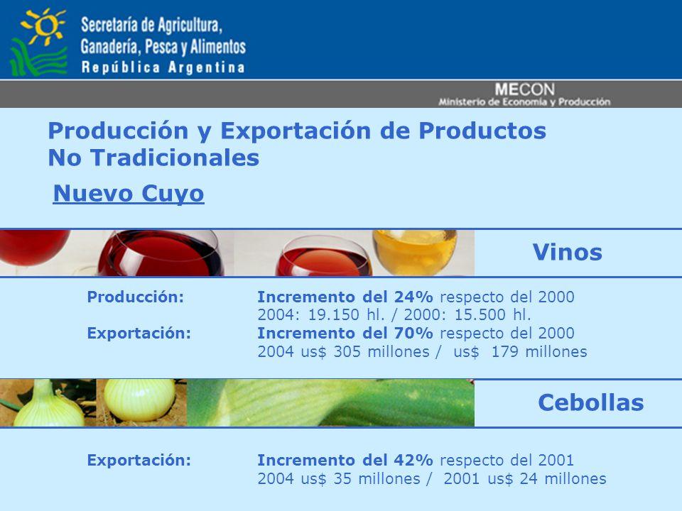 Producción y Exportación de Productos No Tradicionales Nuevo Cuyo Producción: Incremento del 24% respecto del 2000 2004: 19.150 hl. / 2000: 15.500 hl.