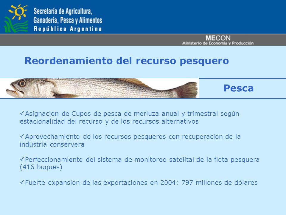 Reordenamiento del recurso pesquero Asignación de Cupos de pesca de merluza anual y trimestral según estacionalidad del recurso y de los recursos alte