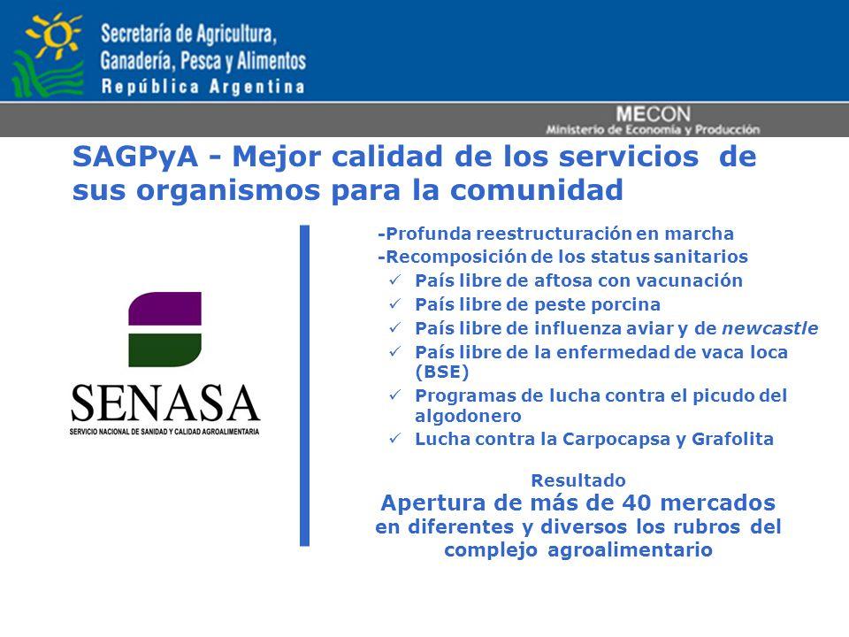 SAGPyA - Mejor calidad de los servicios de sus organismos para la comunidad -Profunda reestructuración en marcha -Recomposición de los status sanitari