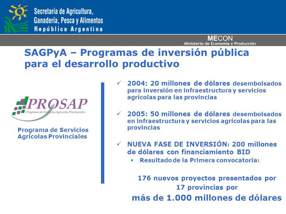 SAGPyA – Programas de inversión pública para el desarrollo productivo Programa de Servicios Agrícolas Provinciales 2004: 20 millones de dólares desemb