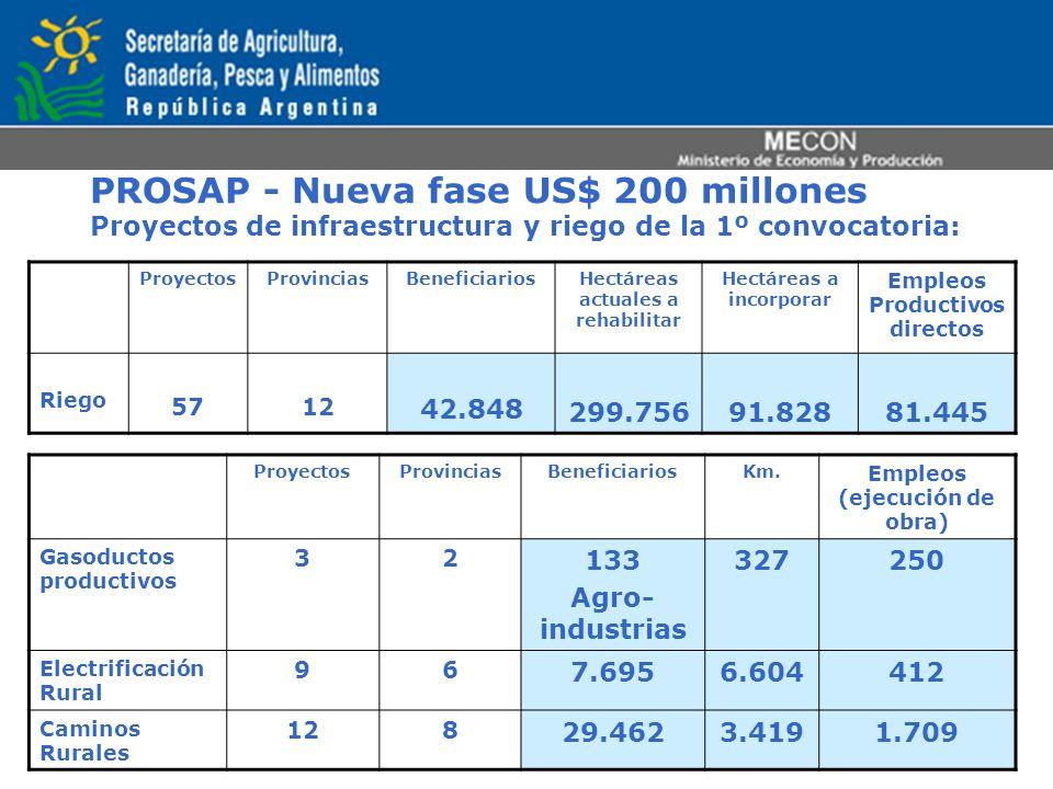 PROSAP - Nueva fase US$ 200 millones Proyectos de infraestructura y riego de la 1º convocatoria: ProyectosProvinciasBeneficiariosHectáreas actuales a