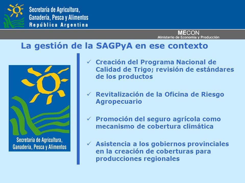 La gestión de la SAGPyA en ese contexto Creación del Programa Nacional de Calidad de Trigo; revisión de estándares de los productos Revitalización de