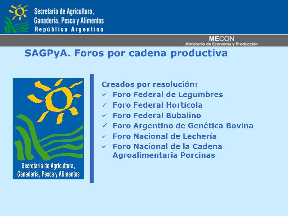 SAGPyA. Foros por cadena productiva Creados por resolución: Foro Federal de Legumbres Foro Federal Hortícola Foro Federal Bubalino Foro Argentino de G