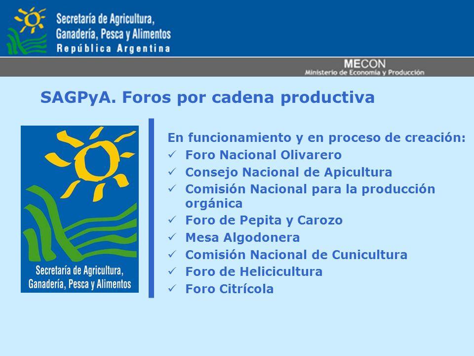 SAGPyA. Foros por cadena productiva En funcionamiento y en proceso de creación: Foro Nacional Olivarero Consejo Nacional de Apicultura Comisión Nacion