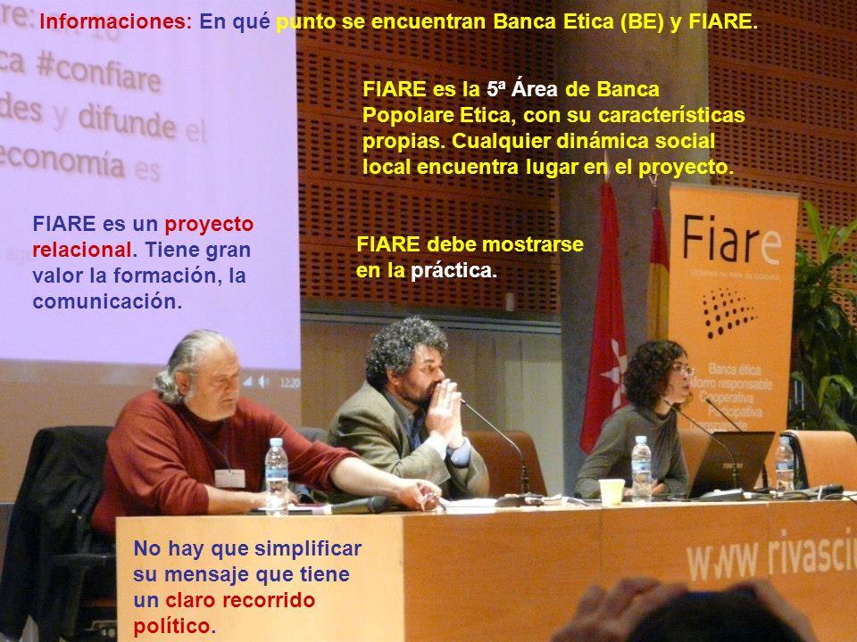 Informaciones: En qué punto se encuentran Banca Etica (BE) y FIARE. FIARE es la 5ª Área de Banca Popolare Etica, con su características propias. Cualq