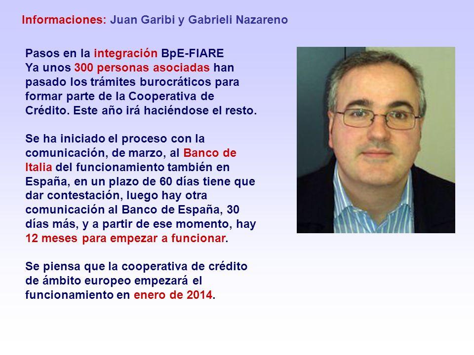 Informaciones: Juan Garibi y Gabrieli Nazareno Pasos en la integración BpE-FIARE Ya unos 300 personas asociadas han pasado los trámites burocráticos p