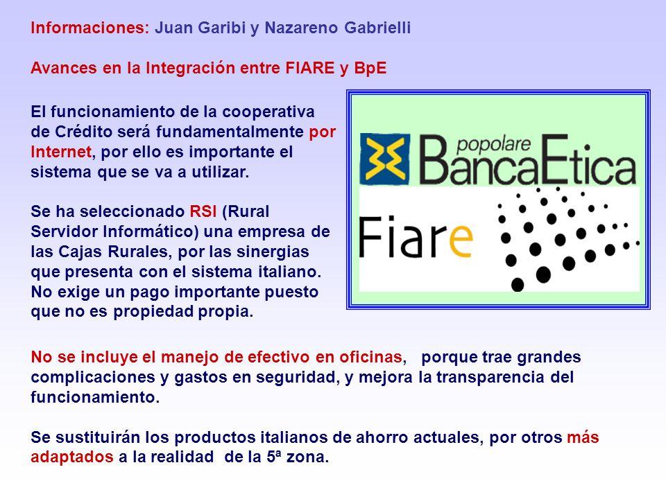 Informaciones: Juan Garibi y Nazareno Gabrielli Avances en la Integración entre FIARE y BpE El funcionamiento de la cooperativa de Crédito será fundam