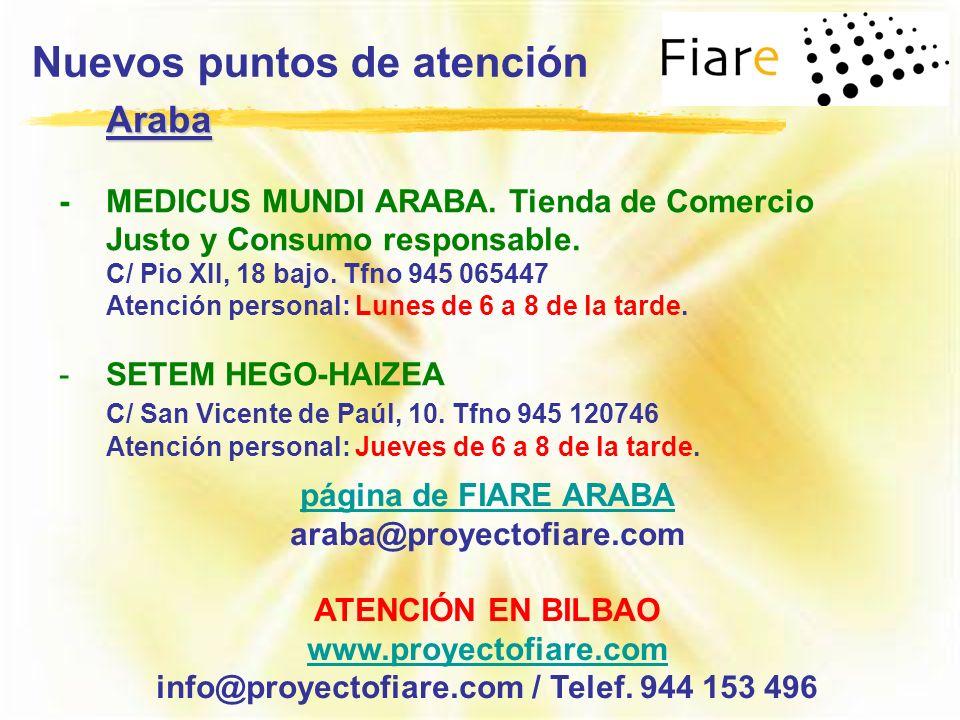 Nuevos puntos de atención página de FIARE ARABA araba@proyectofiare.com ATENCIÓN EN BILBAO www.proyectofiare.com info@proyectofiare.com / Telef. 944 1