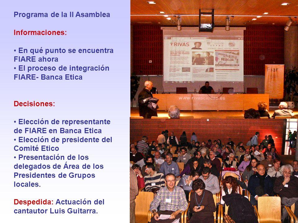 Programa de la II Asamblea Informaciones: En qué punto se encuentra FIARE ahora El proceso de integración FIARE- Banca Etica Decisiones: Elección de r