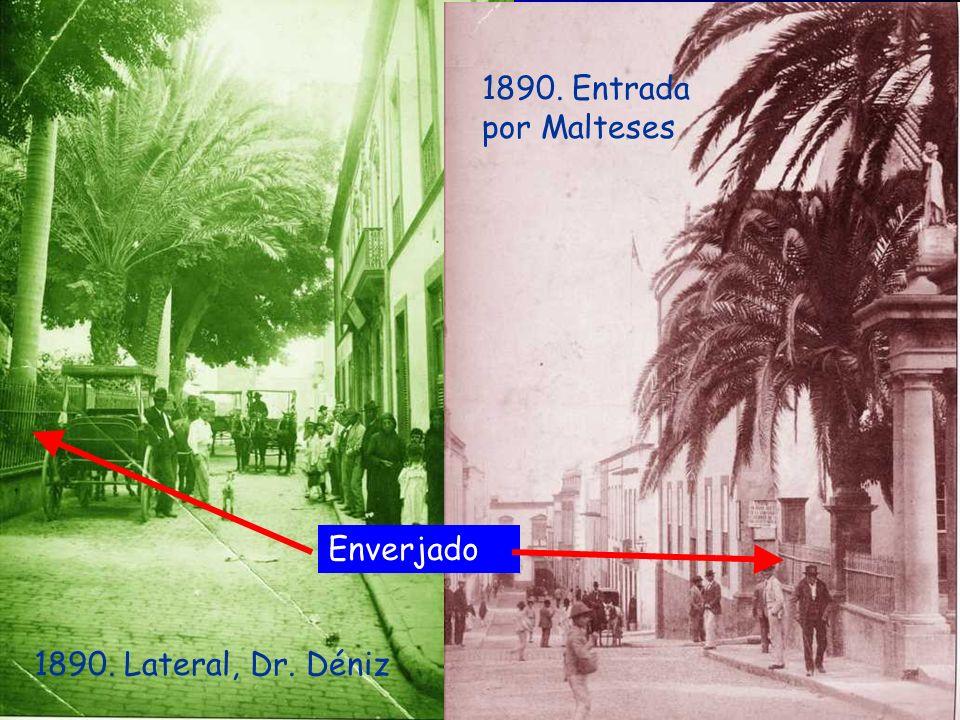 1900-1905. Casa Castillo-Olivares, alineación con la Alameda Muro San Francisco San Nicolás Mas tarde Hotel Cairasco