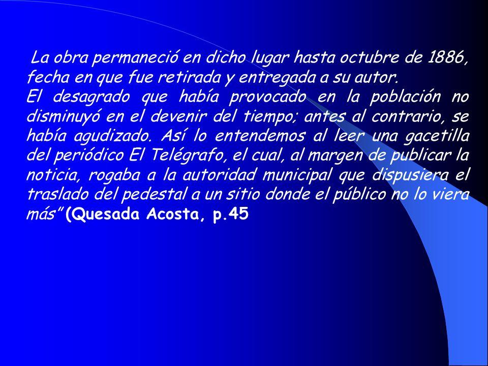 Del monumento o estatua a Gran Canaria, Quesada Acosta nos ofrece la siguiente visión: Esta pieza se debió también al citado Rafael Bello quien prefir