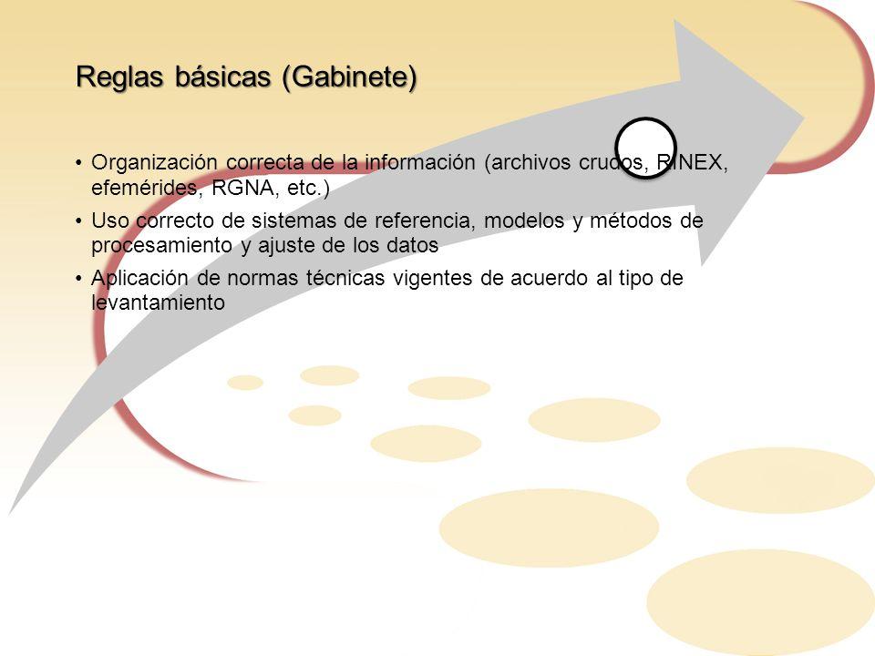 Reglas básicas (Gabinete) Organización correcta de la información (archivos crudos, RINEX, efemérides, RGNA, etc.) Uso correcto de sistemas de referen