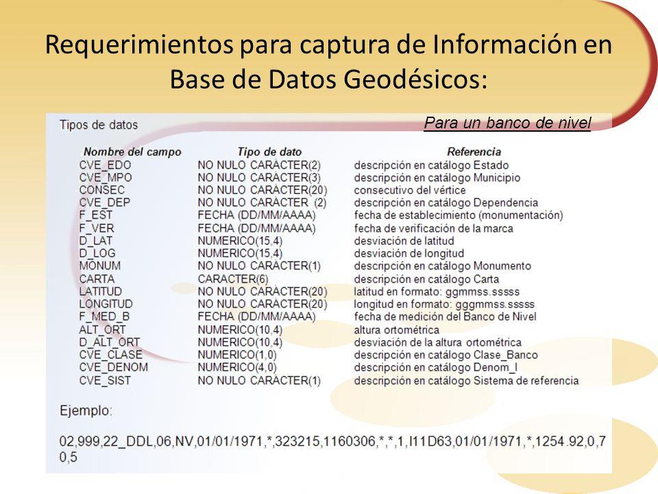 Requerimientos para captura de Información en Base de Datos Geodésicos: Para un banco de nivel