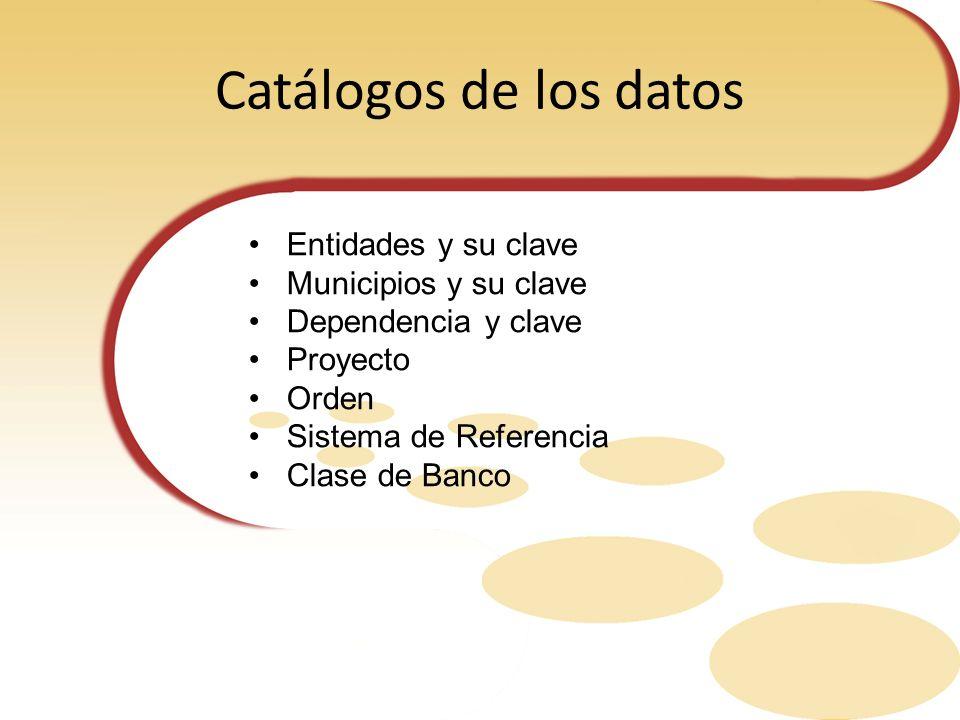Catálogos de los datos Entidades y su clave Municipios y su clave Dependencia y clave Proyecto Orden Sistema de Referencia Clase de Banco