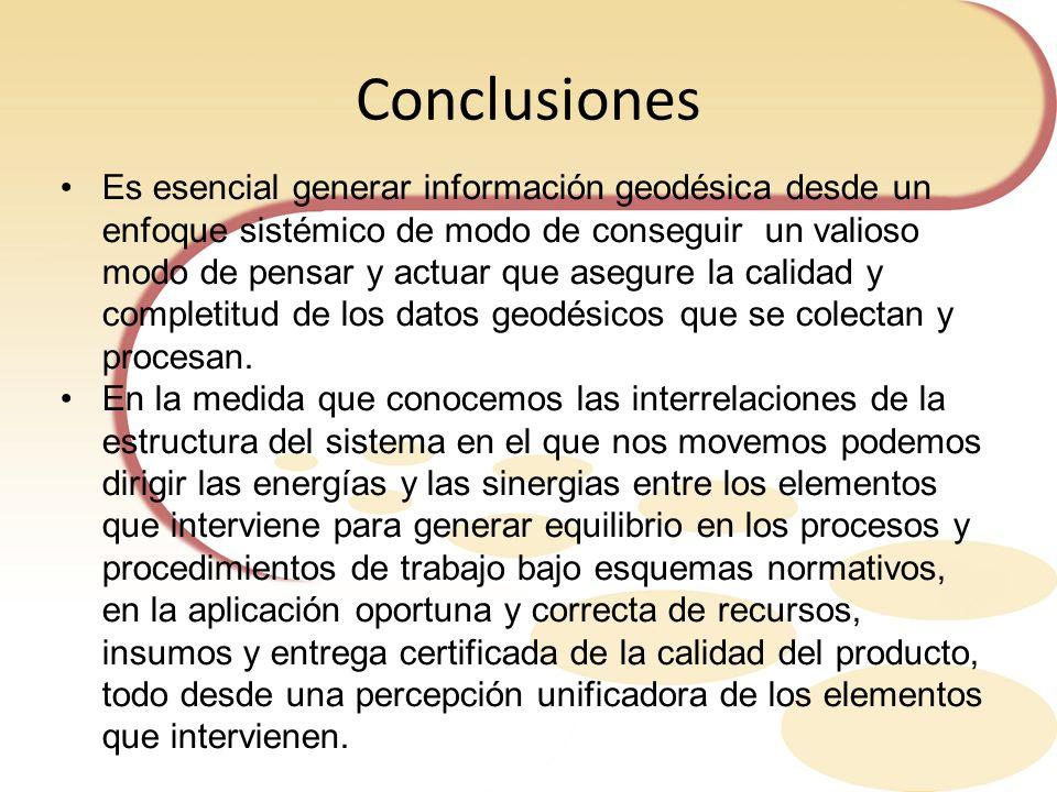 Conclusiones Es esencial generar información geodésica desde un enfoque sistémico de modo de conseguir un valioso modo de pensar y actuar que asegure
