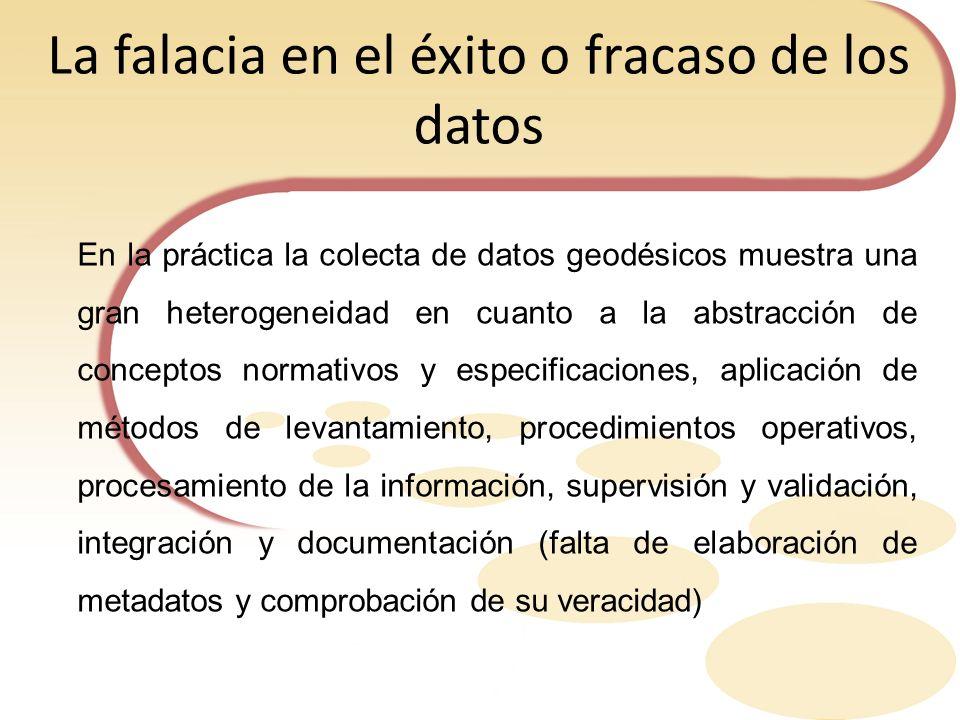 La falacia en el éxito o fracaso de los datos En la práctica la colecta de datos geodésicos muestra una gran heterogeneidad en cuanto a la abstracción