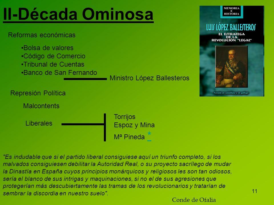 11 II-Década Ominosa Reformas económicas Bolsa de valores Código de Comercio Tribunal de Cuentas Banco de San Fernando Ministro López Ballesteros Repr