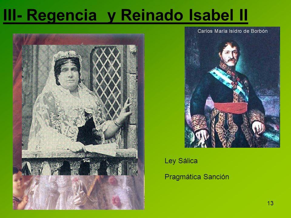 13 Ley Sálica Pragmática Sanción III- Regencia y Reinado Isabel II