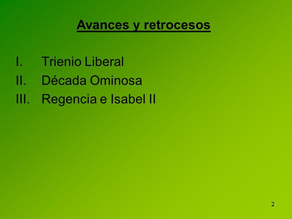 2 I.Trienio Liberal II.Década Ominosa III.Regencia e Isabel II Avances y retrocesos