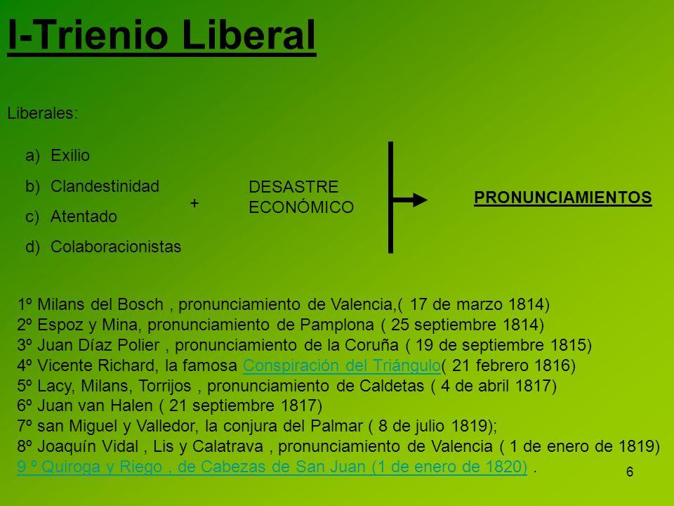 6 I-Trienio Liberal Liberales: a)Exilio b)Clandestinidad c)Atentado d)Colaboracionistas 1º Milans del Bosch, pronunciamiento de Valencia,( 17 de marzo