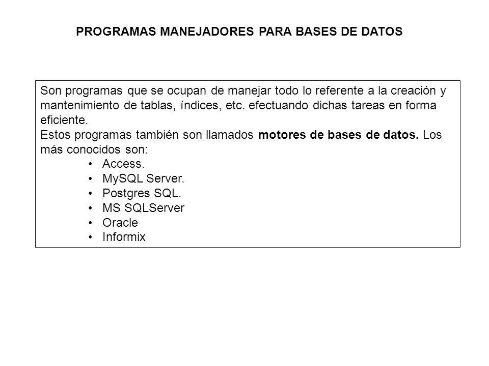 PROGRAMAS MANEJADORES PARA BASES DE DATOS Son programas que se ocupan de manejar todo lo referente a la creación y mantenimiento de tablas, índices, etc.
