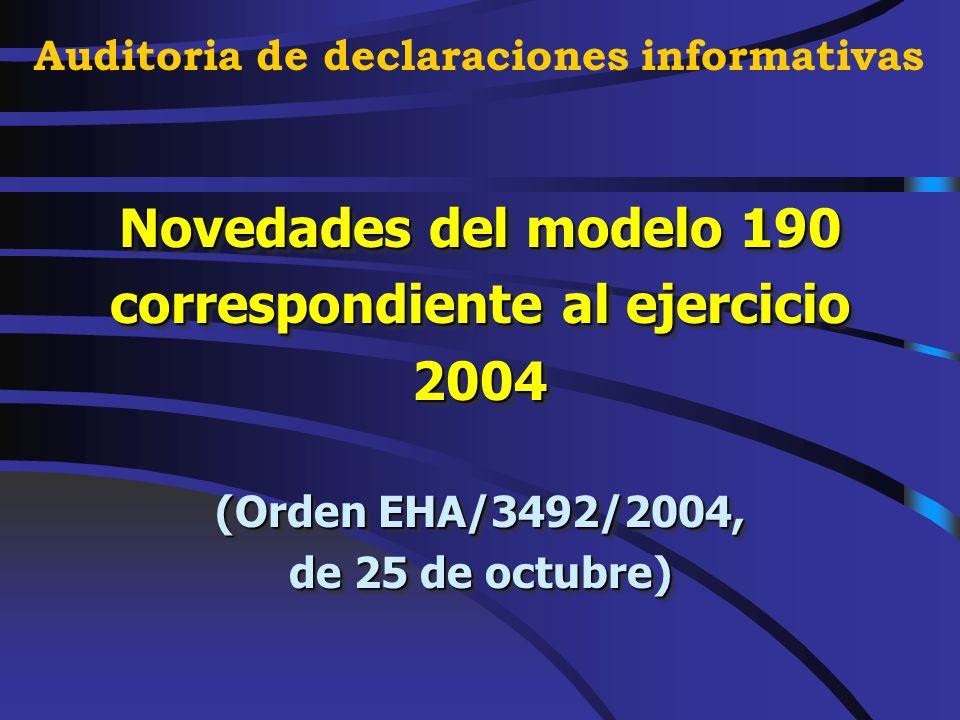 Declaraciones informativas correspondientes al ejercicio 2004. NOVEDADES NOVEDADES Auditoria de declaraciones informativas