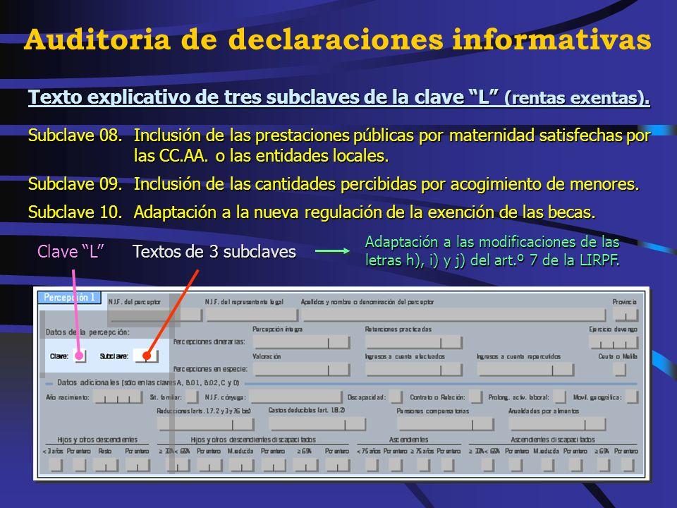 Se crean subclaves en la clave I (rendimientos art.º 73.2,b RIRPF). Subclave 01.Rendimientos derivados de la cesión del derecho de explotación del der