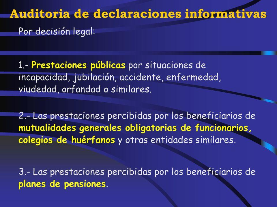Auditoria de declaraciones informativas En particular: 1.- Los sueldos y salarios. 2.- Las prestaciones por desempleo. 3.- Las remuneraciones en conce