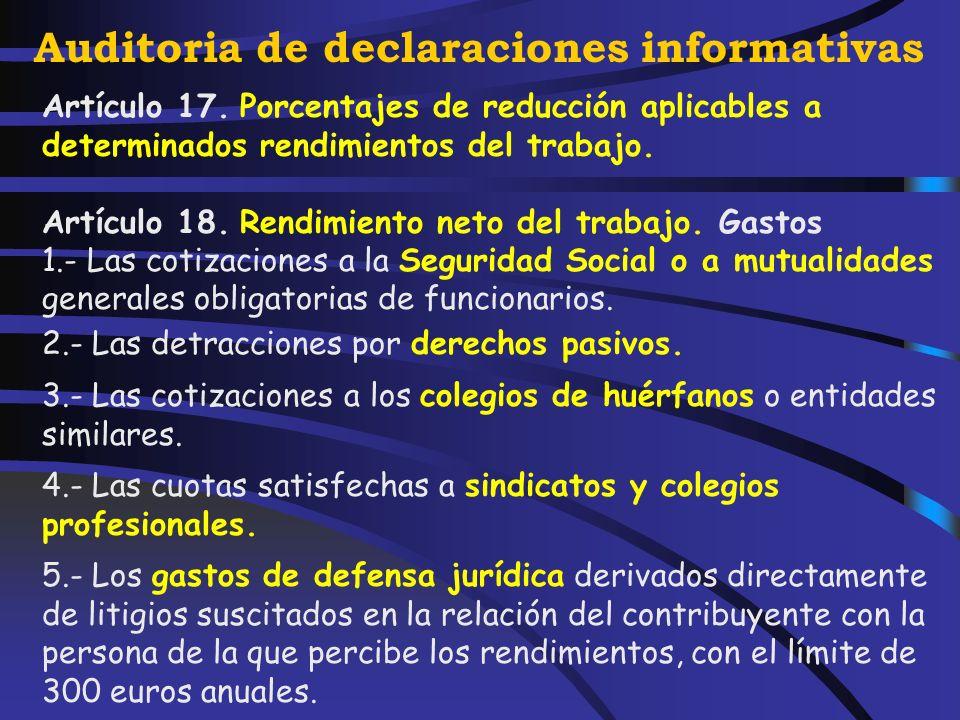 Auditoria de declaraciones informativas 7.- Representantes políticos. 8.- Cursos, conferencias, coloquios, seminarios y similares. 9.- Obras literaria
